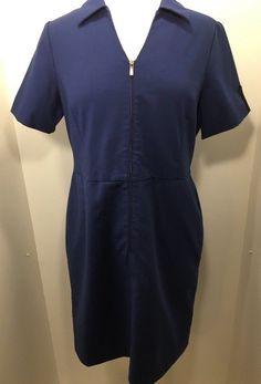 US Airways Stan Herman Twin Hill Navy Blue Flight Attendant Zip Dress 12P 12 pet