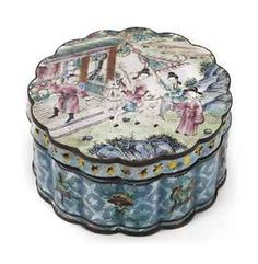 A Chinese Canton enamel shaped circular box and cover,19th Century  With shaped ribbed sides, the cover with wavy rim and painted with an equestrian lady and servants in a landscape garden near a pavillion, the sides with 'Antiquities'