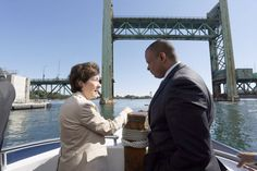 U.S. Sen. Susan Collins talks with U.S. Secretary of Transportation Anthony Foxx during a boat tour of the Route 1A bridge construction site on the Piscataqua River between Portsmouth, N.H., and Kittery on Monday.