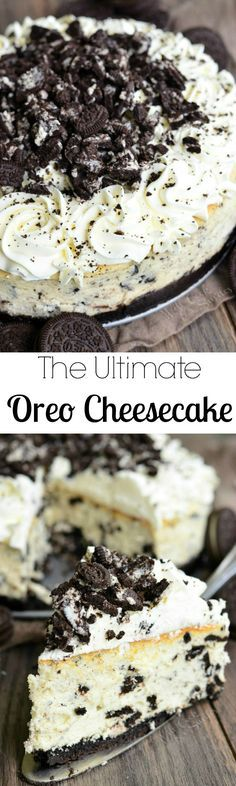The Ultimate Oreo Cheesecake. Luscious Oreo cheesecake that is guaranteed to blo… The Ultimate Oreo Cheesecake. Luscious Oreo cheesecake that is guaranteed to blow you away, made with Oreo crust and topped with a delicate Mascarpone frosting. Oreo Cheesecake Recipes, Oreo Desserts, No Bake Desserts, Just Desserts, Delicious Desserts, Dessert Recipes, Yummy Food, Cheesecake Cake, Oreo Cake