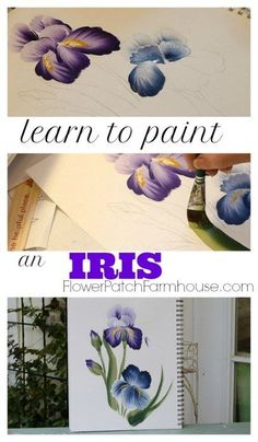 Learn how to paint an Iris one stroke at a time. A simplified painting tutorial to paint one of Springs favorite flowers. Easy acrylic painting lesson with video! Iris Painting, One Stroke Painting, Painting & Drawing, Watercolor Paintings, Watercolors, Encaustic Painting, Watercolor Pencils, Art Paintings, Acrylic Painting Techniques