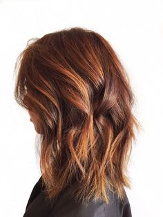 Denessa Sims Hair - West Hollywood, CA, United States. Beautiful copper and gold Balayage highlights and long bob with undercut.