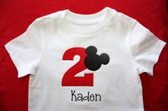 Personalized Mickey Mouse with Birthday Number Onesie by slmeccage, $17.50
