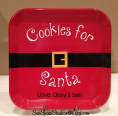 Personalized Cookies for Santa Plate  Includes by sonshinestudios, $11.00