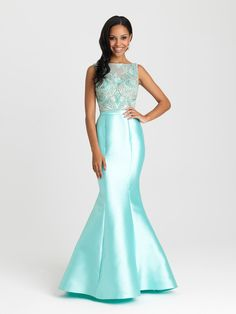 Madison James 16-410 Beaded High Neck Mikado Mermaid Prom Dress Evening Gown