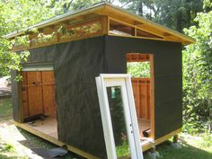 DIY Modern Shed project UPDATE! Complete Shed plans are now available. Check out the … Backyard Office, Backyard Studio, Backyard Sheds, Outdoor Sheds, Building A Shed, Building Plans, Firewood Shed, Studio Shed, Build Your Own Shed