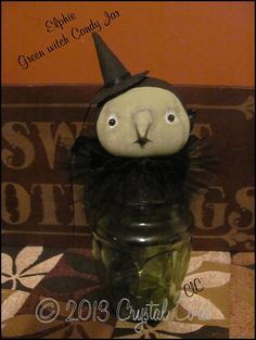 Primitive Vtg lk Folk Art  Green witch up cycled candy by emsprims, $35.00