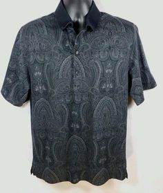 Greg Norman Black Paisley SS Play Dry Polo Shirt Cotton Sz M #GregNorman…