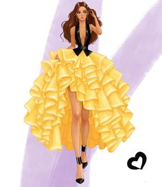 Feeling like a modern day princess 💛🖤💛🖤 . Dress Design Sketches, Fashion Design Sketchbook, Fashion Design Drawings, Fashion Sketches, Art Sketchbook, Fashion Drawing Dresses, Fashion Illustration Dresses, Looks Rihanna, Modelos Fashion