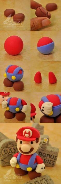 Super Mario fondant topper, part or to use fimo and keep as a figure. Super Mario Torte, Bolo Super Mario, Fondant Toppers, Fondant Cakes, Cupcake Cakes, Fondant Bow, 3d Cakes, Fondant Flowers, Mini Cakes