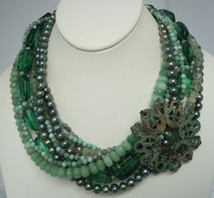Fresh Water Pearls, Czech Glass, Moss Agate, Amazonite, Brass. $265 by Rae Ann Creations