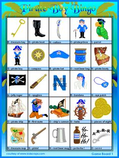 FREE Printable Pirate Boy Bingo - Games at Kid Scraps