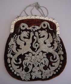 VICTORIAN brown velvet purse with tiny cut steel beads in a regal griffon and snakes motif, faceted steel brads on frame