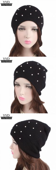 5d86cb073f3 Ladies winter knitting hat warm womens beanies cap pile pearl solid winter  hats for women sombrero