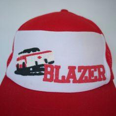 Vintage 70s Chevy BLAZER Red Flocked Puffy Mesh Trucker Cap Hat One Size Adjust
