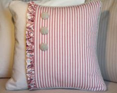 Cottage Ticking and Toile Pillow Cover, Red and White Pillow Cover with Ruffles & Buttons, French Country Decor, Shabby Chic, Cottage Decor