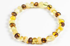 Luxury Baltic Amber bracelet. Polished healing Lithuanian amber jewelry. Multicolor beads bernstein.