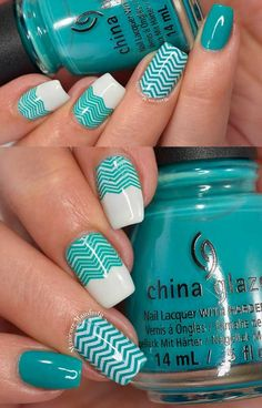 Creative Nail Art Ideas - White & Teal Chevron Nail Art - Fun and Simple Manicures and Nail Art Style Tutorials for Polka Dots, French Tips, Valentines Day and Negative Space Designs - Easy and Cute Styles with Glitter and Gel - Works Great For Spring and Summer as well as Fall - Step By Step Tutorials with Crazy Designs With Rhinestones - https://thegoddess.com/creative-nail-art-ideas