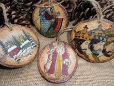 Set of 4 Hanging Christmas Tags/Gift Box  by ElkCreekWoodShop