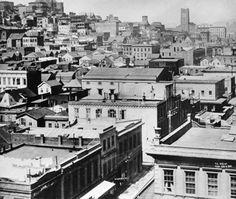 Aerial view of Kearny st, San Francisco c 1860