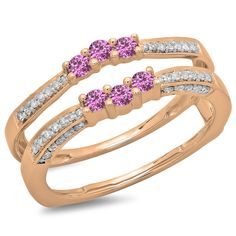 14K Gold Round Pink Sapphire and White Diamond Ladies Anniversary Wedding Band Enhancer Guard Double Ring *** Review more details here : Wedding Rings Jewelry