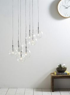 Hall - Clear Dee 10 light cluster - Lighting Sale - Home, Lighting & Furniture - BHS Bhs Lighting, Stair Lighting, Home Lighting, Kitchen Lighting, Kitchen Light Inspiration, Hallway Inspiration, Room Lights, Ceiling Lights, Cluster Lights