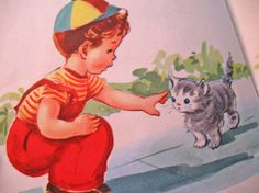 vintage whitman childrens book illustration kitten