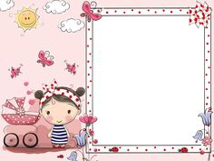 Baby Birthday Card, Chinese New Year Crafts, School Frame, Birthday Wallpaper, Invitation Background, Cute Cartoon Girl, New Year's Crafts, Floral Drawing, Borders And Frames