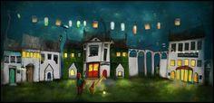 'While the Town Sleeps' II ; mixed media ; Matylda Konecka