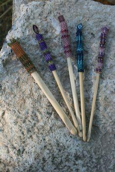Beaded crochet hooks by Allie Thompson
