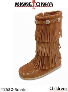 Minnetonka Moccasin Calf Hi 3-Layer Fringe  2652-Brown-CHILDREN, $65.95