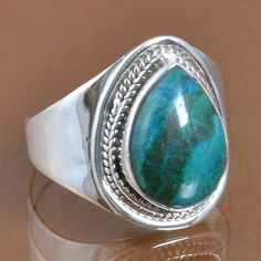 EXCLUSIVE 925 SOLID STERLING SILVER CHRYSOCOLLA RING 6.84g DJR9386 SZ-10 #Handmade #Ring