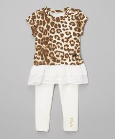 Juicy Couture Brown Leopard Ruffle Tunic & Leggings - Infant & Toddler | zulily