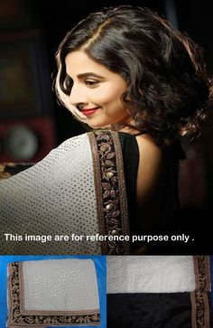 Bollywood Style Vidya Balan Chiffon Saree in White color Bollywood Sarees Online, Bollywood Designer Sarees, Designer Sarees Online, Bollywood Fashion, Bollywood Actress, Bollywood Style, Bollywood Celebrities, Chiffon Saree, Chiffon Fabric