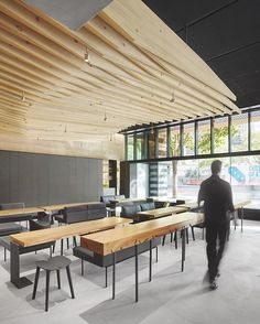 For this week's #idpicks contest, we're asking you to submit your best images of restaurant interiors! Whether your favorite hangout spot or a five-star fine dining experience, tag your images with #idpicks and our editors will repost their favorites on Instagram and InteriorDesign.net next week. Pictured here, an undulating canopy of pine slats complements reclaimed cottonwood tables at In Situ, a restaurant by Aidlin Darling Design at SFMOMA. : Matthew Millman. @sandow