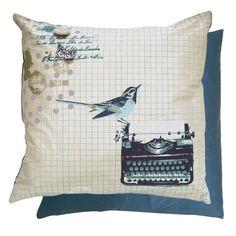 Very cute typewriter with bird pillow design