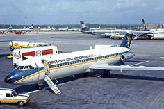 British Caledonian Airways BAC 111-509EW G-AXYD at London Gatwick Airport. 12th May 1973