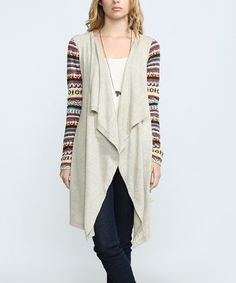 Another great find on #zulily! Taupe Stripe Drape Cardigan #zulilyfinds