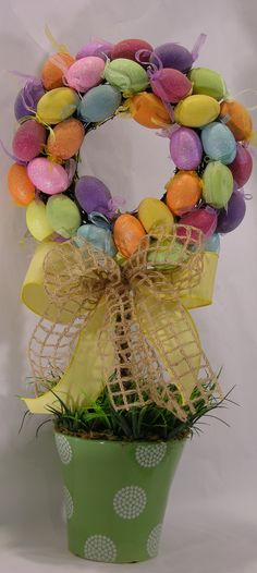 Easter Grapevine Egg Wreath Topiary