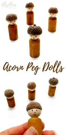 DIY acorn peg dolls are an easy craft for both adults and kids preschool age and up. They look wonderful displayed on mantles, window sills, fairy gardens and nature tables. They are also the perfect handmade dolls for pretend or imaginative play.
