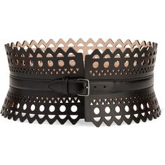 Alaïa Vienne laser-cut leather waist belt ($1,025) ❤ liked on Polyvore featuring accessories, belts, perforated belt, perforated leather belt, alaia belt, alaïa and wide belt