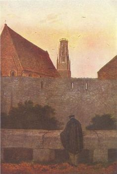 "romanticism-art: ""By the townwall, Caspar David Friedrich "" Caspar David Friedrich Paintings, Casper David, William Turner, Creepy Art, Art Database, Paintings For Sale, Dresden, Artist Art, Art And Architecture"