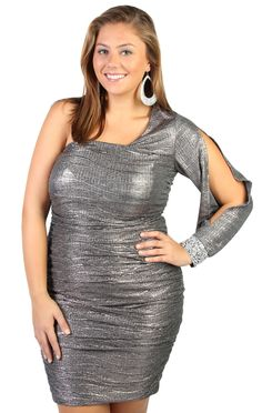 plus size all over metallic knit one shoulder homecoming dress  $54.50