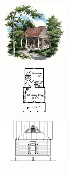 Tiny House Plan 65934 | Total Living Area: 569 sq. ft., 1 bedroom and 1 bathroom. #tinyhouse
