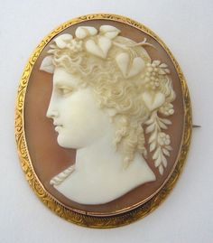 ANTIQUE SHELL CAMEO 9K ROSE GOLD BROOCH - PORTRAIT OF FLORA