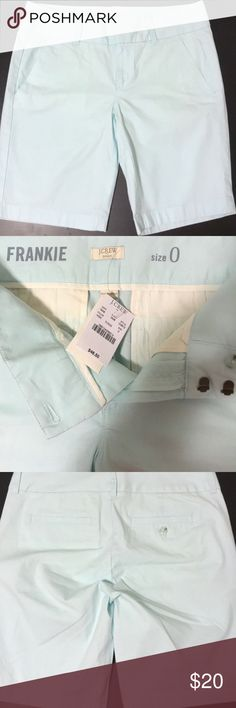 "J Crew Shorts NWT. J crew Frankie baby blue shorts. Inseam is approx 9"". Waist approx 15"" Great for spring, summer and casual office wear. Size 0 can fit size 2 J. Crew Shorts Bermudas"