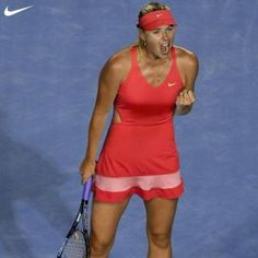 Maria Sharapova in her Australian Open 2015 Nike dress featuring cutout at mid-back that goes all the way to the front section and the elastic mesh strap at the racerback