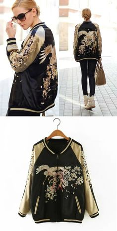 An Embroidery Bomber Jacket is Now in Store at $75 as featured on Pasaboho. This Fashion Jacket exhibit unique bold embroidered patterns with sakura flowers.