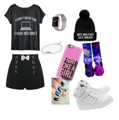 """""""y/n outfit"""" by queencrybabys ❤ liked on Polyvore featuring Moschino, Casetify and Pandora"""