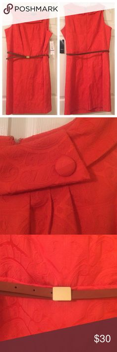 Orange Dress Cute orange patterned dress features scoop neckline with button and belt at waist. Shell: 34% polyester, 63% cotton, 3% spandex. Lining: 100% polyester. Make an offer! R&K Dresses Midi